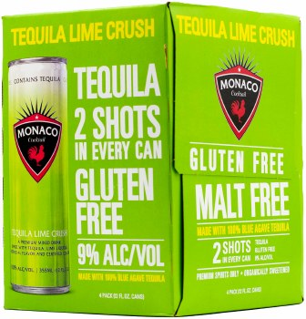 Monaco Tequila Lime Crush Cocktail 4pk 12oz Can