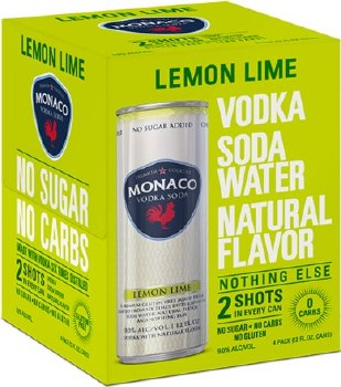 Monaco Lemon Lime Vodka Soda Cocktail 4pk 12oz Can