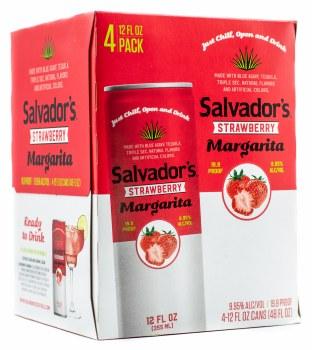Salvadors Strawberry Margarita 4pk 12oz Can