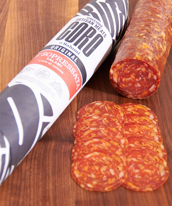 Coro by Salumi Hot Soppressata, Sliced
