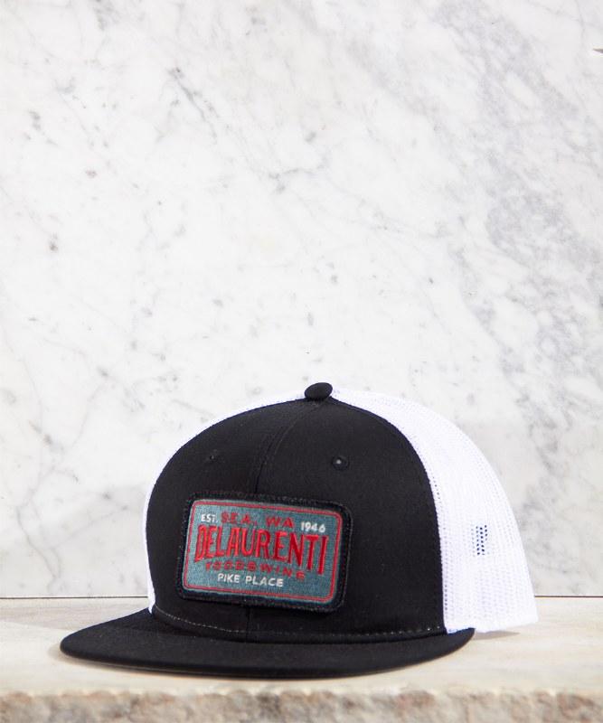 DeLaurenti Trucker Hat Black/White