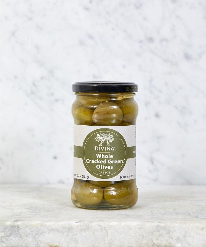 Divina Cracked Green Olives, 6oz