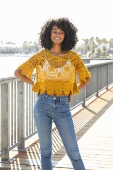 Boho Southwestern Mustard Crochet Crop Top