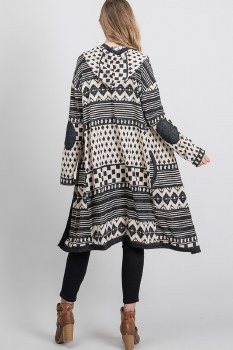 Aztec Hooded Cardi Med Black