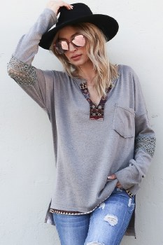 Boho Henly top with aztec and lace