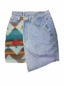 Aztec Denim Skirt Xl Denim