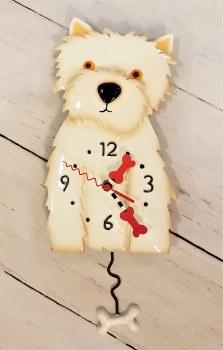 Weston dog clock with hanging dog bone pendulum