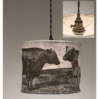Cow Canvas Pendant Light