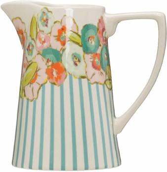 Flower And Stripe Pitcher