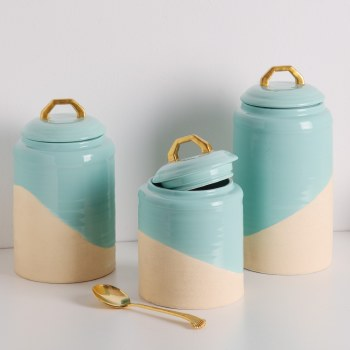 2 Tone Turquoise Canister Set