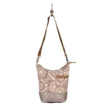 Cowhide and Canvas bucket purse