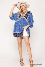 Blue Crochet Tunic with dloman sleeves and low back tassle tie
