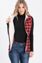 Sherpa fur lined zip up plaid vest jacket with pockets and adjustable waist red and black
