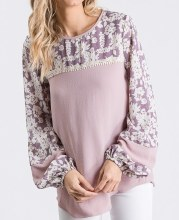 Lilac Floral Pesant Tunic