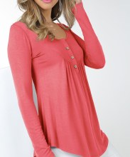 Baby Doll Tunic Ls Sm Coral