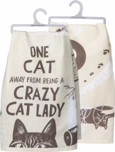 One Cat Away From Being A Crazy Cat Lady Hand Towel