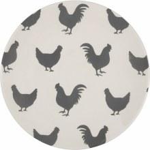 Grey & White Chicken Plate Sm