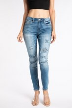 Skinny High Rise Leopard Patch Denium Jeans