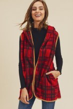Plaid Red and black sherpa vest with pockets and camel brown trim with a hood