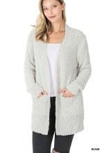 Long sleeve Bone popcorn sweater with pockets