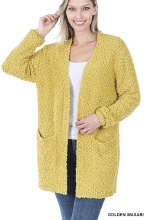 Golden Wasabi Popcorn sweater with pockets