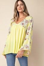 Lemon Floral Peasant Tunic