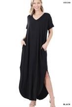 Short sleeve black maxi dress with pockets