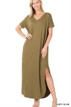 Short sleeve olive maxi dress with pockets