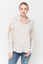 Grey and Cream Plaid Embroidered Sleeve Collared Button Down Light Weight Blouse