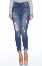 Disstressed Skinny High Rise Jeans