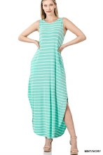 Striped Sleeveless Maxi With Side Slits And Pockets