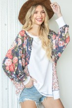 Mixed Floral Oversized Dolman sleeve Top