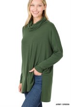 Army green knit cowl neck sweater