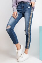 Dark Distressed Denim Jeans With Leopard Accent Down The Side