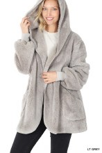 Light Grey Faux Fur Hoodie Jacket with pockets