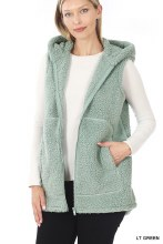 Light Mint Green Zip up sherpa vest with pockets and hood