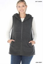 Charcoal Zip up Sherpa Vest with hood and pockets