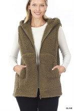 Olive Green Zip up sherpa vest with pockets and hood