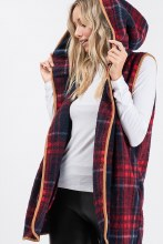 Plaid Red and navy sherpa vest with pockets and camel brown trim with a hood