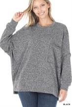 Black speckled pocket melange sweater