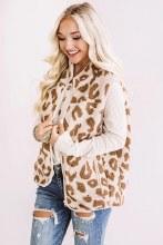 Leopard Sherpa Vest Zip up with pockets