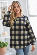 Beige and grey plaid blouse with open crochet back