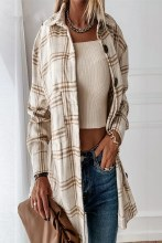 Beige and Brown plaid shacket with large silver buttons