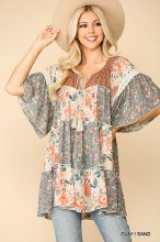 Floral Chiffon Peasant Top With Front Tie