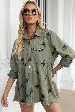 Long sleeve Star Olive snap closure blouse/jacket