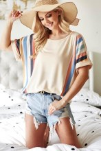 Super Soft Multi Colored Stripe Dolman Top With Cuff Sleeves