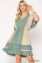 Color Block v Neck Dress With Tie Waist