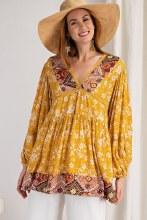 Long Sleeve Mustard boho floral Peasant Top Blouse