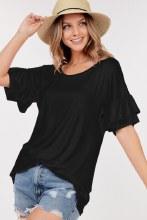 Black ruffle sleeve tunic top