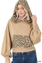 French terry drop shoulder cropped sweatshirt with leopard front pocket and hood